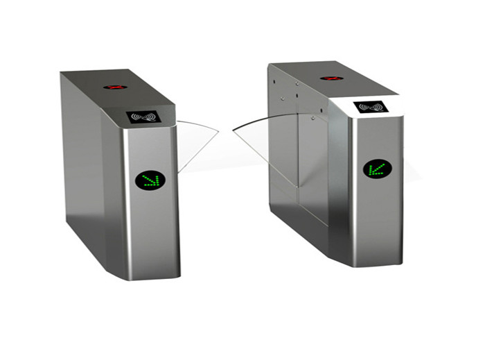 Double direction waist high turnstiles , clear acrylic automatic flap barrier pedestrian flow control