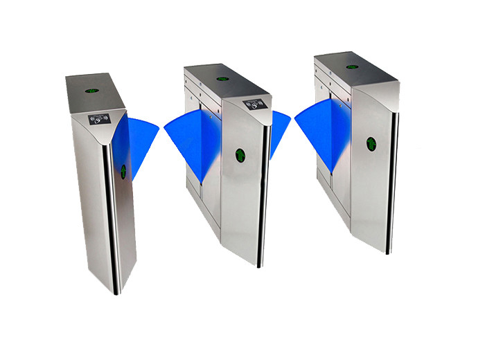 Silver Color Flap Barrier Gate 304 Inox Face Recognition Infrared Sensing Bridge Type